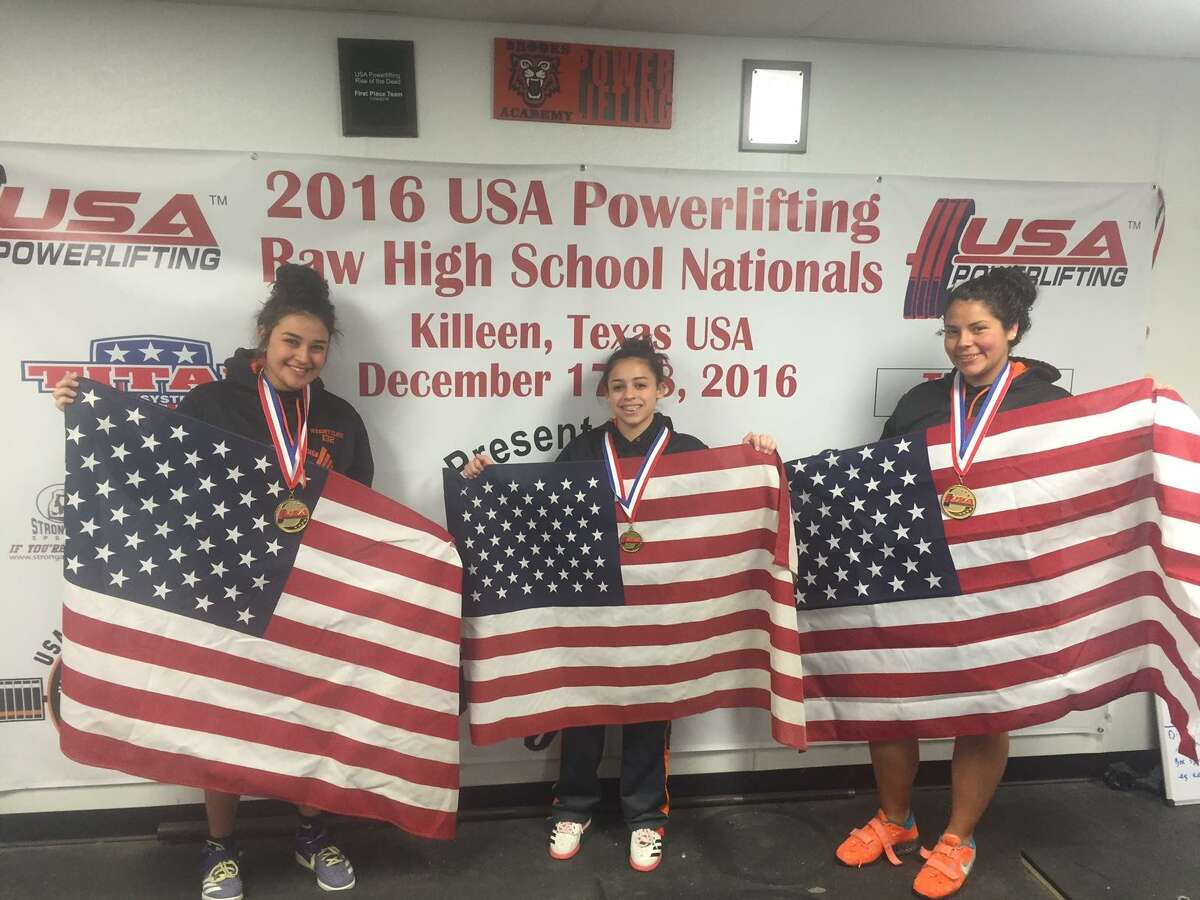 Brooks Academy of Science and Engineering students Nallely Gutierrez, Liszette Ortiz-Rosado and Samantha Heimer, left to right, will travel to Potchefstroom, South Africa for the World Open Equipped Bench Press Championship.