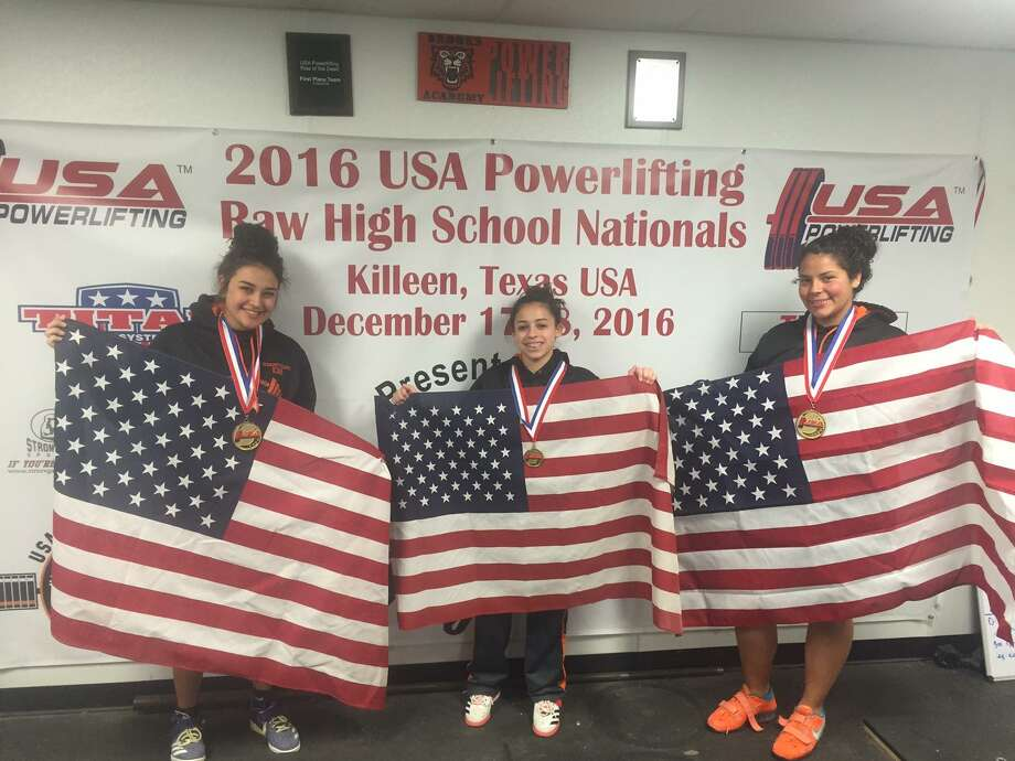 Brooks Academy of Science and Engineering students Nallely Gutierrez, Liszette Ortiz-Rosado and Samantha Heimer, left to right, will travel to Potchefstroom, South Africa for the World Open Equipped Bench Press Championship. Photo: Courtesy Photo