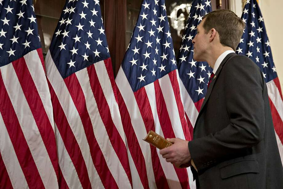 Rep. Conor Lamb, D-Pa., in the speakers ceremonial room in the U.S. Capitol on Thursday. Photo: Andrew Harrer / Bloomberg