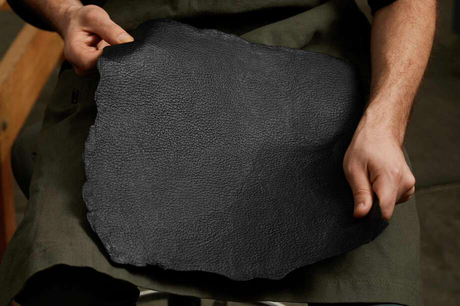 """Mylo"" is a leather-like material made from mycelium, the roots of a mushroom. Photo: Courtesy Of Bolt Threads"