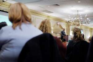 New York Times op-ed columnist Charles Blow addresses those gathered for the Seeking Solutions: Starting the Conversation about Male Sexual Assault conference at the Desmond Hotel on Tuesday, April 17, 2018, in Albany, N.Y.    (Paul Buckowski/Times Union)