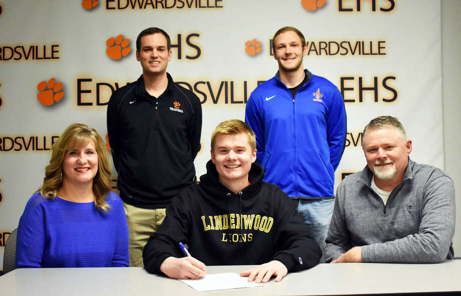 Cal Werths, seated center, will play men's volleyball at Lindenwood-St. Charles.