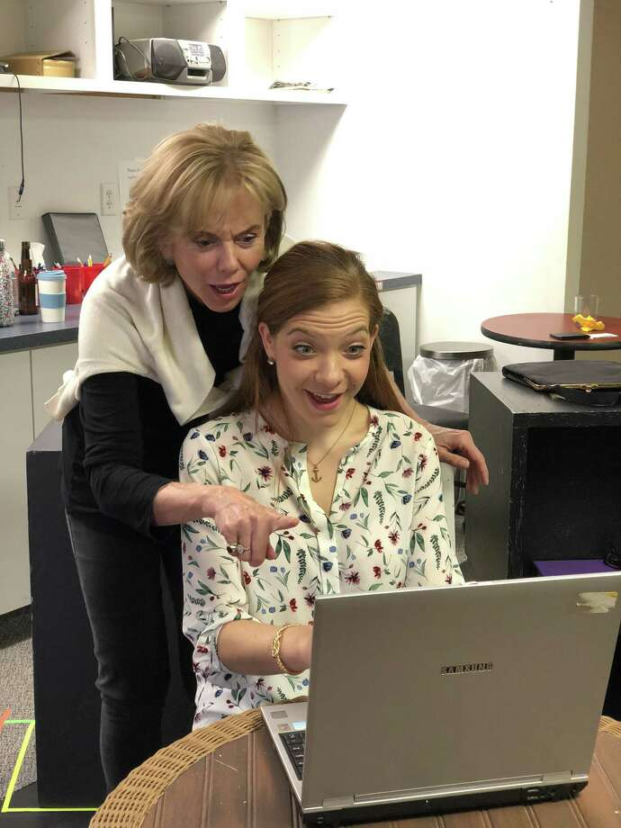 "Linda Purl and Susan Slotoroff rehearse a scene in ""Love Quest"" at the Ivoryton Playhouse. Photo: Photo By Emily Ash"