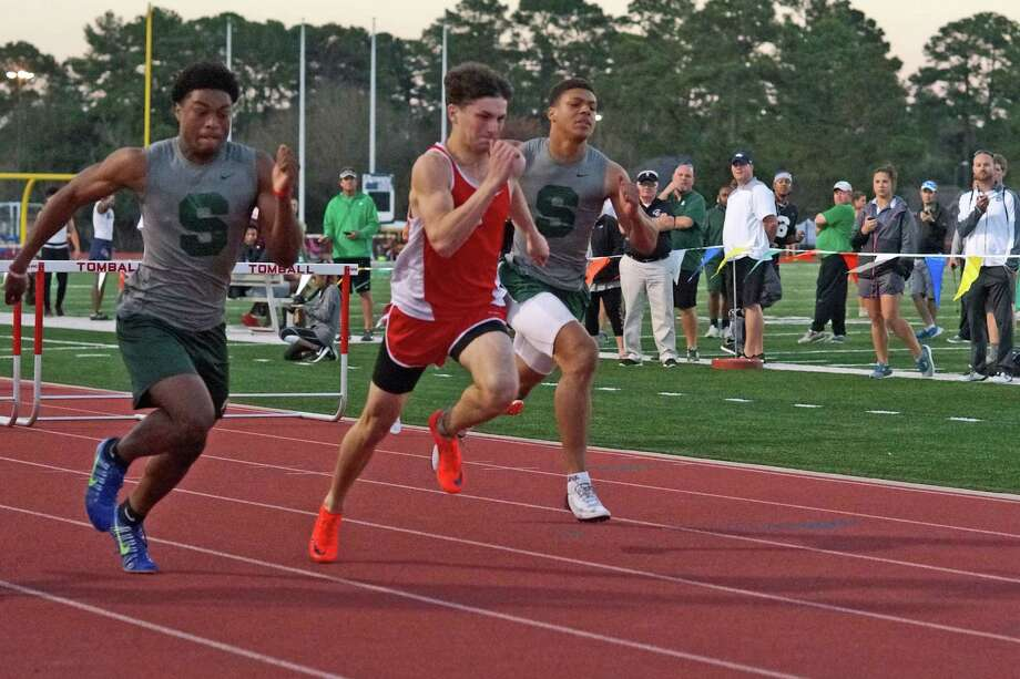 Tomball senior Brandon Peterson placed first (39.67) in the boys 300-meter hurdles at the UIL District 20-5A track and field meet, April 4-5, at Brenham High School. Photo: Tony Gaines / Tomball ISD