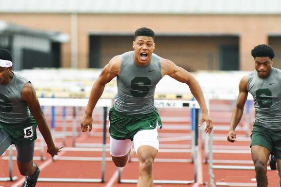 Spring hurdlers Daniel Harrold, Treyvon Mays and Derion Lane placed first, second and third place in the 110 yard high hurdles and 300 yard low hurdles at the District 16-6A meet at Spring High School.