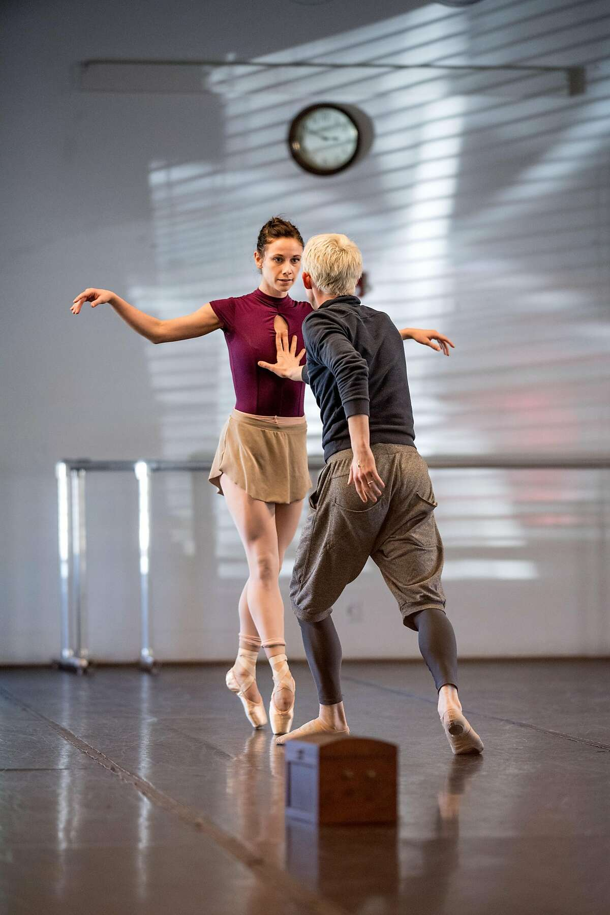 """Diablo Ballet dancers Jackie McConnell and Christian Squires rehearse """"The Red Shoes"""" on Wednesday, March 7, 2018, in Walnut Creek, Calif."""