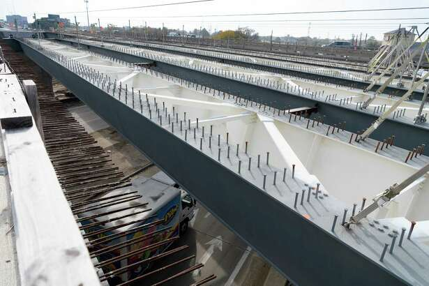 Steel girders for the overpass at Antoine and U.S. 290 are installed and are waiting to have steel platforms installed before concrete is poured on Dec. 21, 2017.