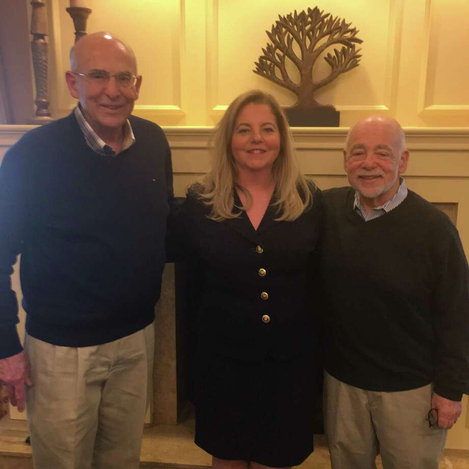Left to Right: Michael Amoroso (Board President) welcomes Ann Luke (Retired Insurance Executive) and David Rauch (Marketing & Research Consultant) to the USE Board, April 2018. Photo: Contributed Photo / Contributed / Greenwich Time Contributed