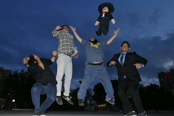 """Comedia A Go-Go members Larry Garza (from left), Joel Settles, Jess Castro, """"Fulgencio"""" the mariachi pinata and Regan Arevalos will present """"A Night in Pinche San Antonio"""" and two stand-up showcases at the Laugh Out Loud Comedy Club."""