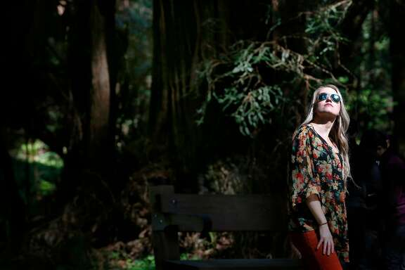 Visiting from Boston, Alissa Gutowski takes in the view of old growth redwoods at Muir Woods National Monument in Mill Valley, Calif. on Tuesday, April 17, 2018. Gutowski, traveling with her friend Heather Ford, said redwood trees and the Golden Gate Bridge were the two must-sees during their visit. The Save the Redwoods League has released its first ever State of Redwoods Conservation Report.