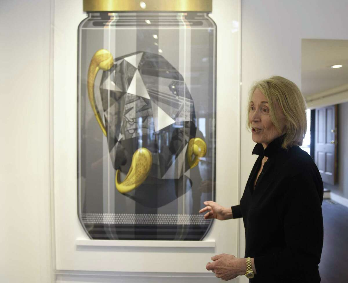 Marina Kamena, a Parisian now based in Westport, shows her and Serge Clement's piece