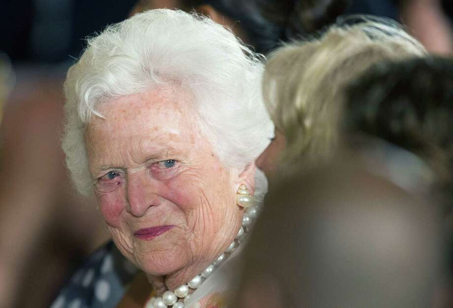 """In this file photo taken on July 15, 2013 former US First Lady Barbara Bush attends a White House ceremony to recognize the Points of Light volunteer program in Washington, DC. Barbara Bush is in """"failing health"""" after a series of hospitalizations and """"has decided not to seek additional medical treatment,"""" her husband's office said in a statement on April 15, 2018. It said that Mrs. Bush, after consulting with relatives and doctors, had decided to """"focus on comfort care"""" at the family home in Houston. Photo: JIM WATSON, Contributor / AFP/Getty Images / AFP or licensors"""