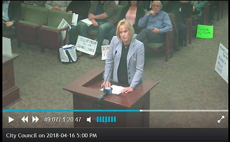 Screen Shot of City Council Meeting: Suspended Alameda City Manager Jill Keimach, who secretly taped recorded two council members allegedly pressuring her over the appointment of a new fire chief, speaks in her own defense during a City Council meeting on April 16, 2018. Photo: / Screenshot