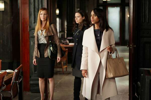 "Darby Stanchfield, left, Katie Lowes and Kerry Washington in a scene from ""Scandal,"" which is set to air its series finale in April. (ABC)"