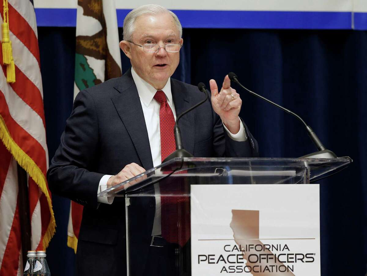 FILE - In this March 7, 2018, file photo, U.S. Attorney General Jeff Sessions addresses the California Peace Officers' Association at the 26th Annual Law Enforcement Legislative Day in Sacramento. A federal judge upheld the core of California's sanctuary laws Thursday, rejecting a Trump administration lawsuit that argued the state was violating U.S. law by restricting local cooperation with federal immigration agents.