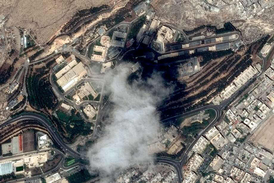 This handout satellite image taken on April 11, 2018 and provided on April 15, 2018 by Distribution Airbus DS, shows the Scientific Studies and Research Centre compound in the Barzeh district, north of Damascus, before the raids by the United States, Britain and France. U.S., French and British missiles destroyed sites suspected of hosting chemical weapons development and storage facilities on Friday, but the buildings were mostly empty. Photo: HANDOUT /AFP /Getty Images / AFP or licensors