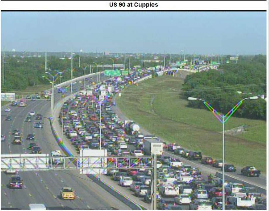 A major accident on eastbound highway 90 is causing a traffic backup near Cupples, Tuesday April 17, 2018 according to the San Antonio Police Department. Photo: Texas Department Of Transportation