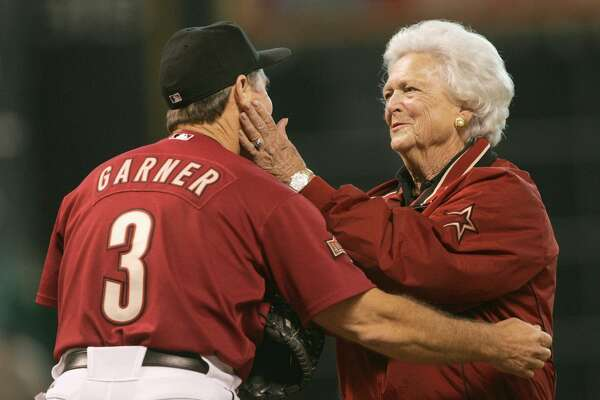HOUSTON - OCTOBER 17: Former first lady Barbara Bush talks with manager Phil Garner of the Houston Astros before game four of National League Championship Series against the St. Louis Cardinals during the 2004 Major League Baseball Playoffs at Minute Maid Park October 17, 2004 in Houston, Texas.  (Photo By Stephen Dunn/Getty Images)