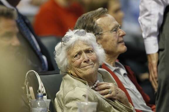05 April 2010: Former First Lady Barbara Bush looks back during the San Francisco Giants vs. Houston Astros baseball game at Minute Maid Park on Monday April 5, 2010 in Houston, Texas. San Francisco won 5-2. (Photo by Aaron M. Sprecher/Icon SMI/Icon Sport Media via Getty Images)