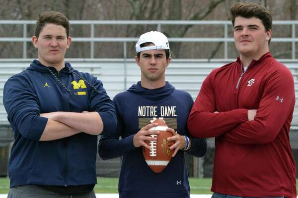 New Canaan's Jack Stewart, Drew Pyne and Jack Conley also commited to big time Division I colleges all within hours of each other. (Pete Paguaga, Hearst Media Group) April, 17, 2018