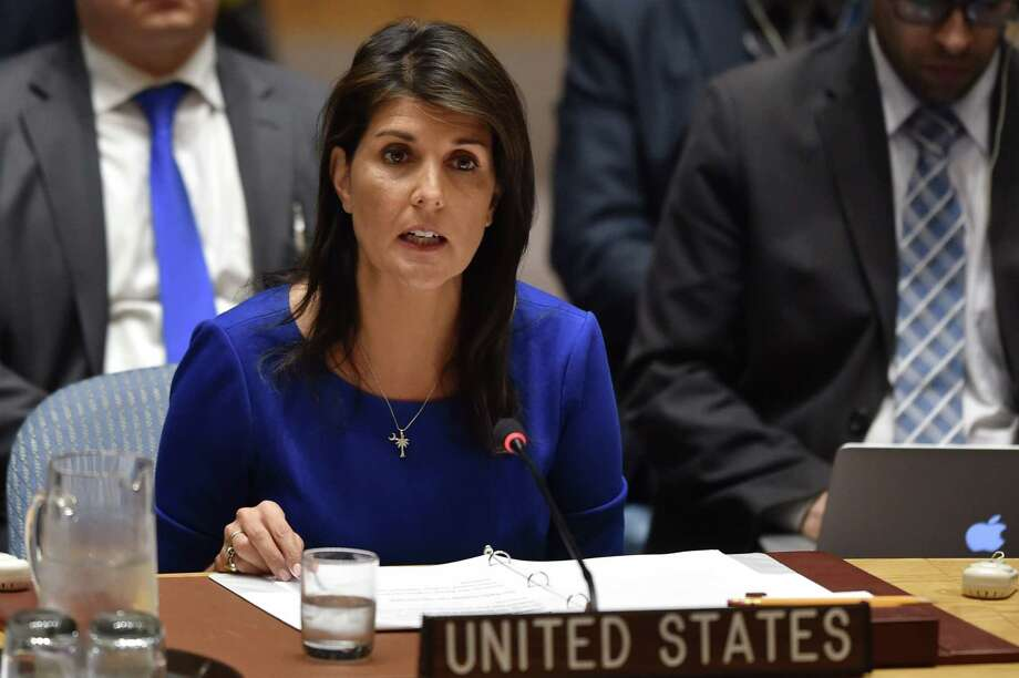 U.S. Ambassador to the United Nations Nikki Haley will speak at the University of Houston on Tuesday. Photo: HECTOR RETAMAL, Contributor / AFP/Getty Images / AFP or licensors