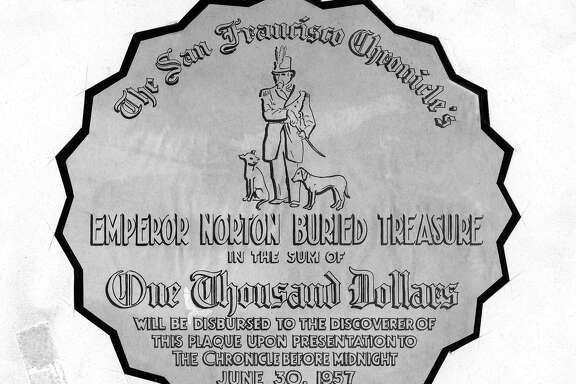 Emperor Norton Treasure Hunt 1957. The golden medallion, photo ran April 23, 1957, p. 6