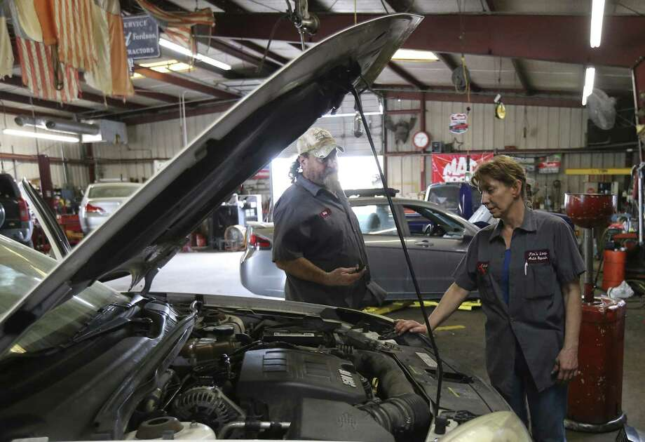 Linda Barden, who manages Jim's Loop Auto Repair near Mission San José, and other South Side business owners are concerned about the city's initiative to downzone their properties. Photo: Kin Man Hui /San Antonio Express-News / ©2018 San Antonio Express-News