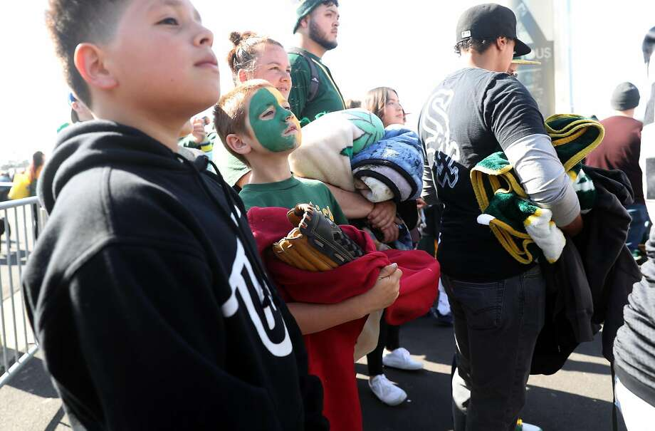 Oakland Athletics' Forest Ashby of Lakeport is celebrating his 10th birthday by getting into the A's game against the Chicago White Sox for free at Oakland Coliseum in Oakland, Calif., on Tuesday, April 17, 2018. Photo: Scott Strazzante / The Chronicle