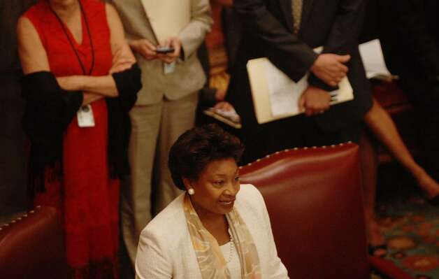 Sen. Andrea Stewart-Cousins rises to address her fellow Senators during a Senate session at the Capitol on Monday, June 21, 2010.   (Paul Buckowski / Times Union) Photo: PAUL BUCKOWSKI