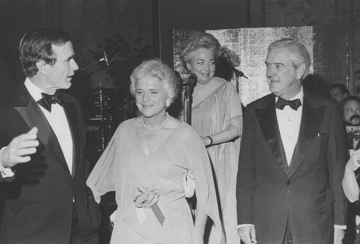 George H.W. and Barbara Bush talk with Travis County Commissioner Ann Richards and former Texas Gov. John Connally in 1979. San Antonio Express-News file photo