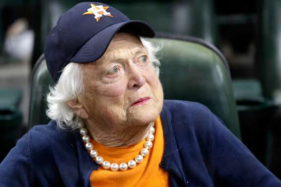 HOUSTON, TX - OCTOBER 29: Former first lady Barbara Bush looks on before game five of the 2017 World Series between the Houston Astros and the Los Angeles Dodgers at Minute Maid Park on October 29, 2017 in Houston, Texas.  (Photo by David J. Phillip - Pool/Getty Images)