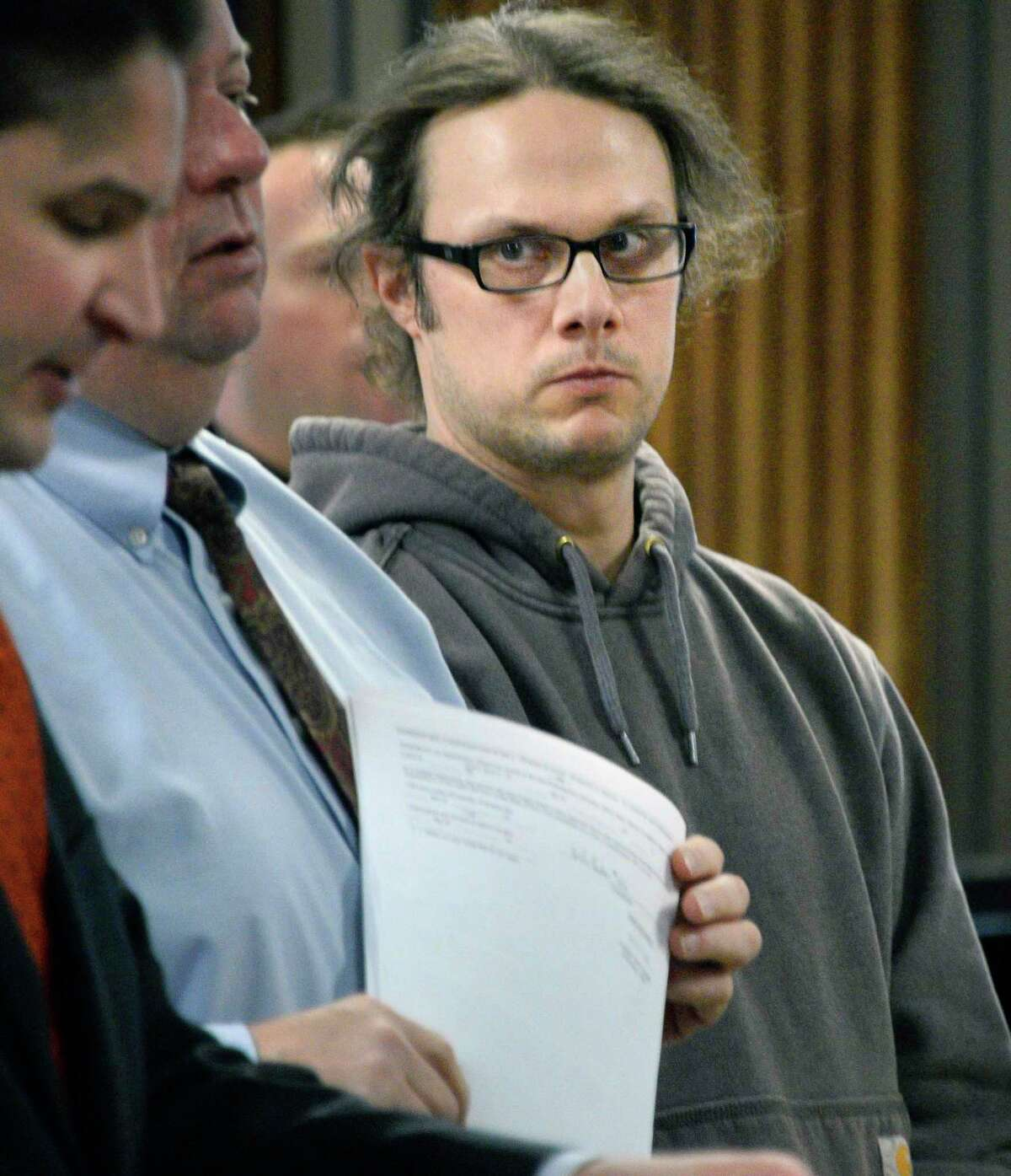 Town of Bolton's chief operator of its water department Thomas French II, is arraigned in Albany City Court on charges related to falsification of water-quality reports Tuesday April 17, 2018 in Albany, NY. (John Carl D'Annibale/Times Union)