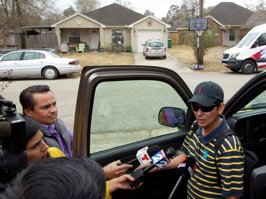 Ernesto Villadares, brother of Ulises Villadares, speaks to the media Friday across from his brother's home where Ulises and his son were bound by a pair of men on Wednesday. The father was taken away by the kidnappers and later killed during an FBI raid Thursday morning. Photo: Jason Fochtman, Staff Photographer / Houston Chronicle / © 2018 Houston Chronicle