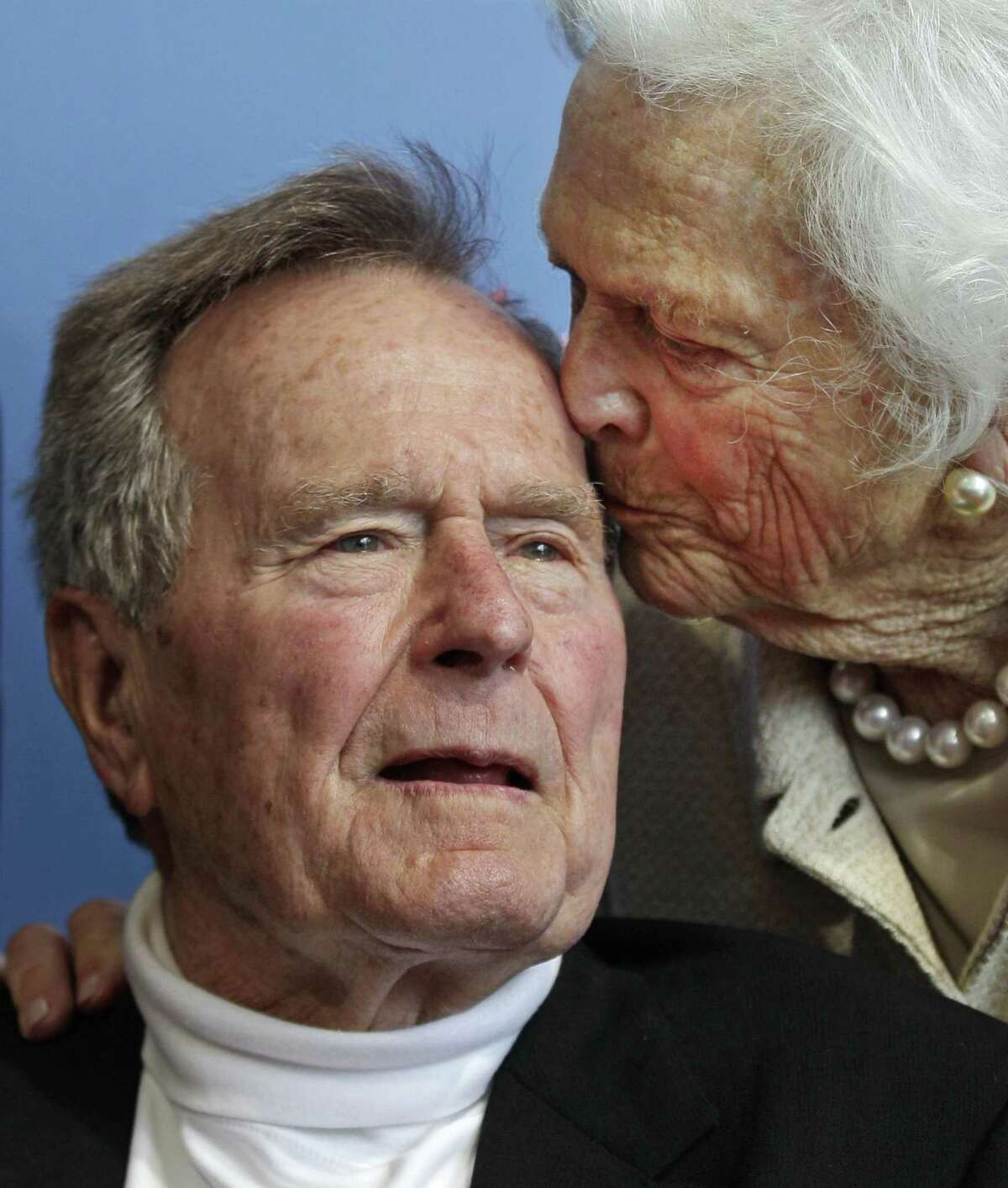 Former President George H.W. Bush, and his wife former first lady Barbara Bush, at premiere of HBO's new documentary on his life in Kennebunkport, Maine in June 2012.