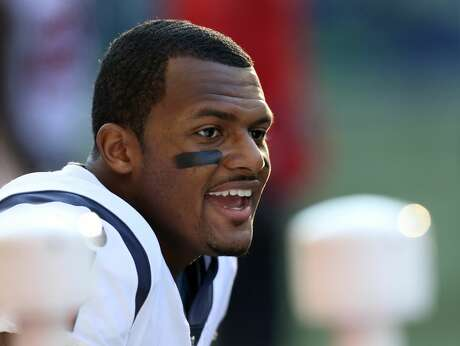 Houston Texans quarterback Deshaun Watson (4) on the sideline after a scoring drive against the Seattle Seahawks during the second half at CenturyLink Field Sunday, Oct. 29, 2017, in Seattle. The Seahawks won 41-38. ( Godofredo A. Vasquez / Houston Chronicle )