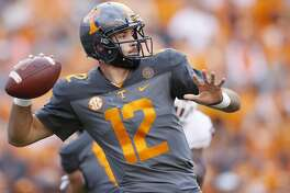 KNOXVILLE, TN - SEPTEMBER 30: Quinten Dormady #12 of the Tennessee Volunteers looks to pass during a game against the Georgia Bulldogs at Neyland Stadium on September 30, 2017 in Knoxville, Tennessee. Georgia won 41-0. (Photo by Joe Robbins/Getty Images)