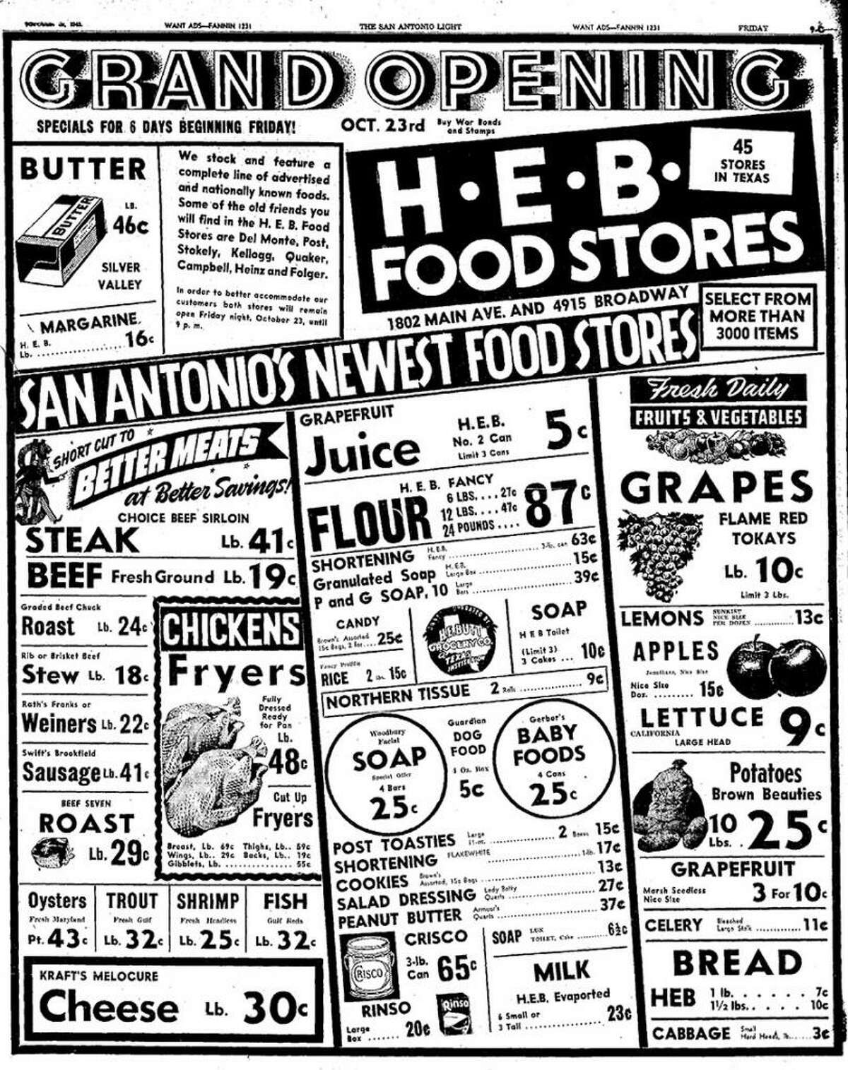 This San Antonio Light ad for H-E-B promoted its first San Antonio store Oct. 23, 1942.