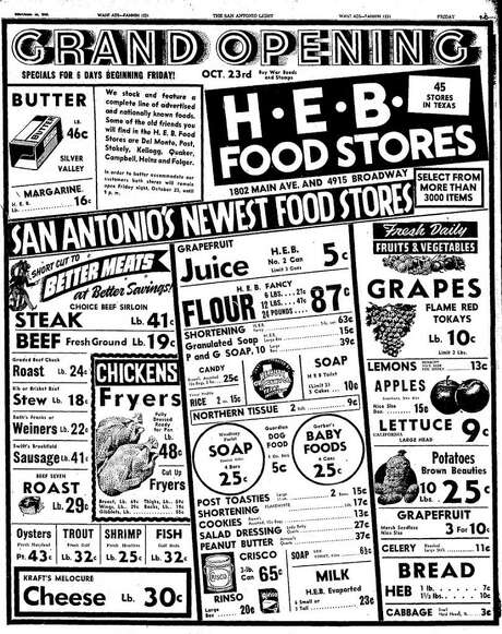 This San Antonio Light ad for H-E-B promoted its first San Antonio store Oct. 23, 1942. Photo: Express-News Archives