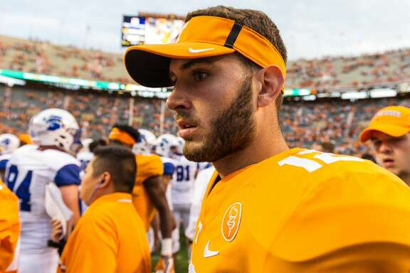 KNOXVILLE, TN - SEPTEMBER 09: Tennessee Volunteers quarterback Quinten Dormady (12) during a game between the Indiana State Sycamores and Tennessee Volunteers on September 9, 2017, at Neyland Stadium in Knoxville, TN. (Photo by Bryan Lynn/Icon Sportswire via Getty Images)