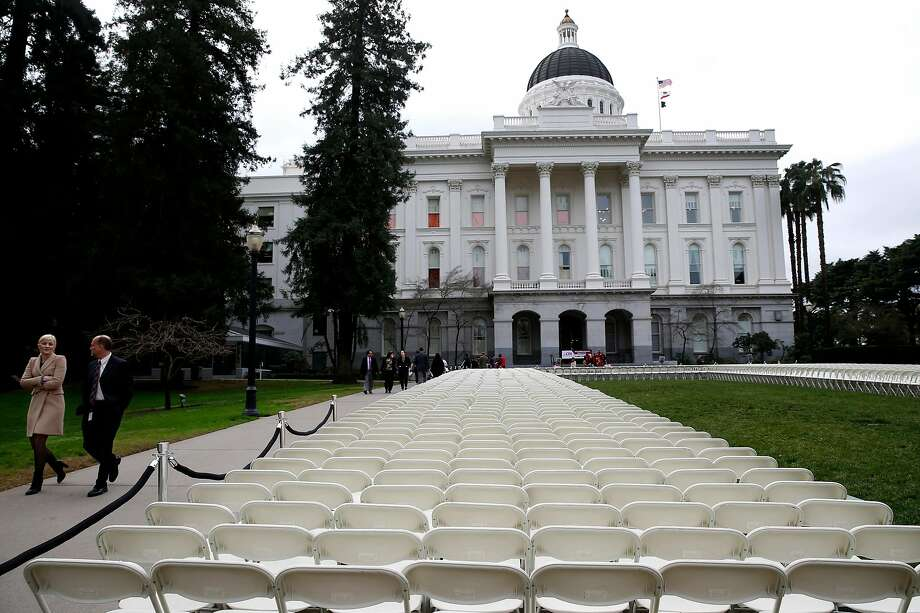 Chairs outside the state Capitol in Sacramento. Photo: Paul Chinn / The Chronicle
