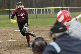 Burnt Hills pitcher Kristen Langdon throws the ball during a softball game against South Glens Falls on Tuesday, April 17, 2018 in Burnt Hills, N.Y. (Lori Van Buren/Times Union)