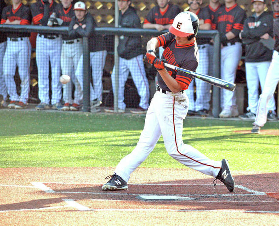 Edwardsville junior Joe Copeland delivers a two-run during the top of the fourth inning in Tuesday's Southwestern Conference game at O'Fallon. Photo:     Scott Marion | For The Telegraph