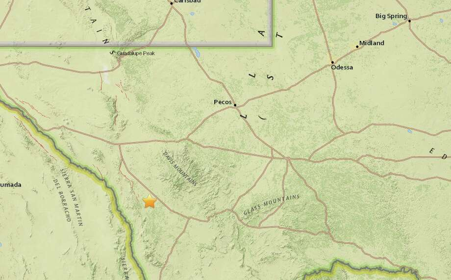 A 2.8 magnitude earthquake took place at about 2:54 a.m. Monday, about 29 miles west-northwest of Marfa, according to the USGS. Photo: U.S. Geological Survey