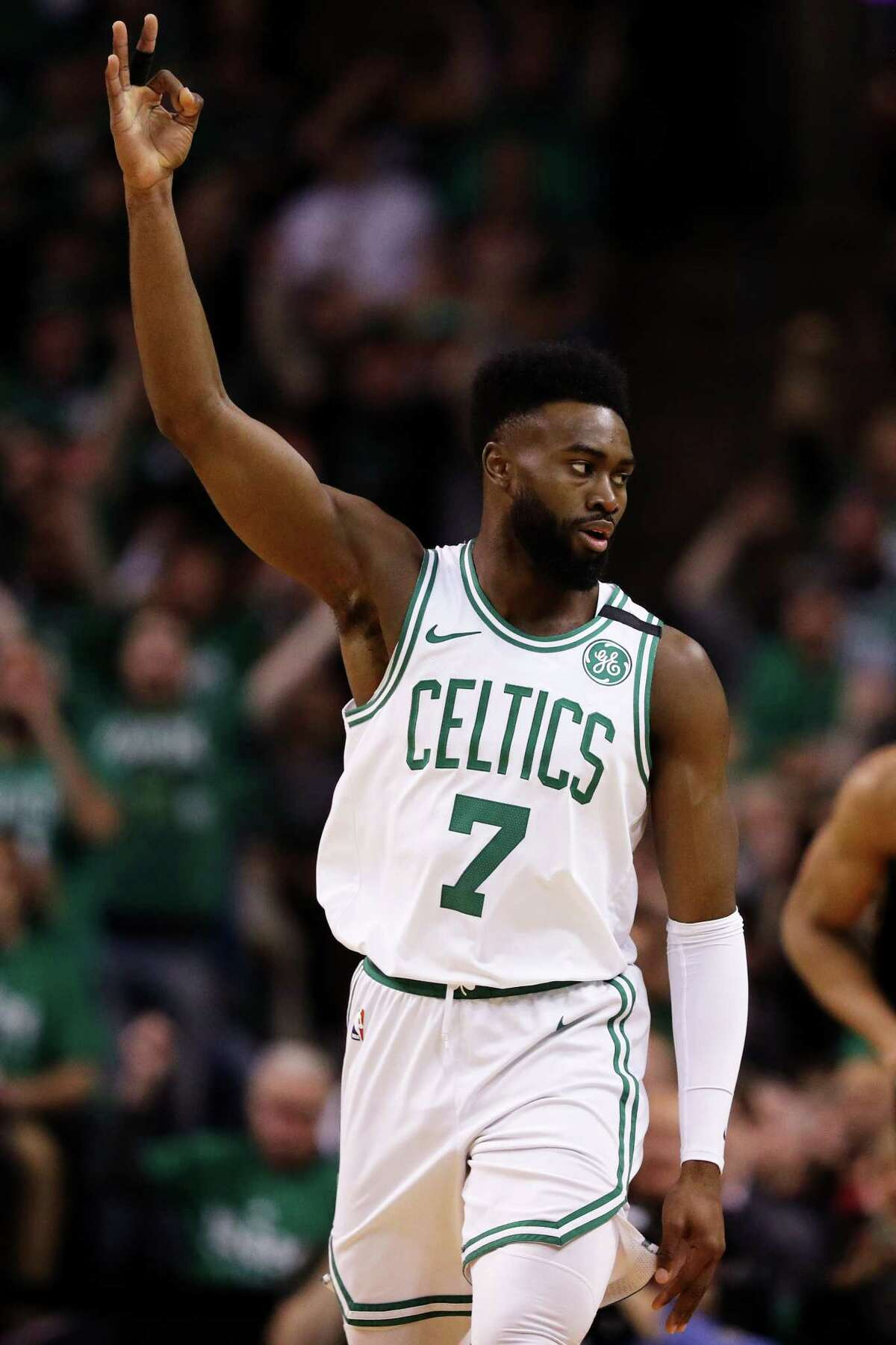 BOSTON, MA - APRIL 17: Jaylen Brown #7 of the Boston Celtics celebrates after hitting a three point shot in the first quarter of Game Two in Round One of the 2018 NBA Playoffs against the Milwaukee Bucks at TD Garden on April 17, 2018 in Boston, Massachusetts. (Photo by Maddie Meyer/Getty Images)