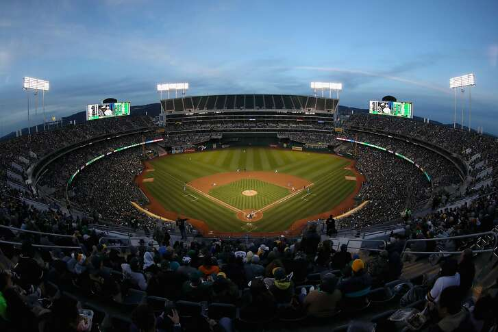 OAKLAND, CA - APRIL 17:  A general view of the Oakland Athletics playing against the Chicago White Sox at Oakland Alameda Coliseum on April 17, 2018 in Oakland, California.  The Athletics offered free tickets to tonight's game to mark the 50th anniversary of the team playing in Oakland.  (Photo by Ezra Shaw/Getty Images)