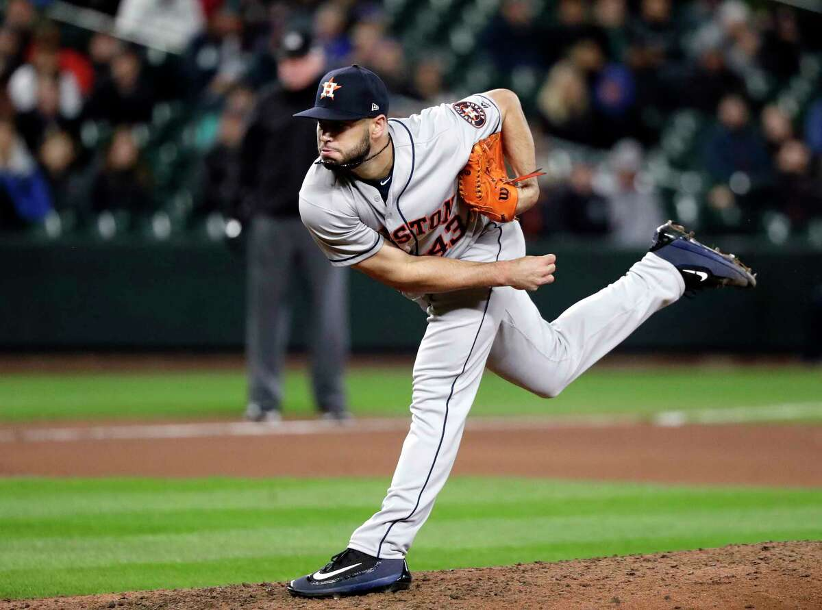Houston Astros starting pitcher Lance McCullers Jr. throws his final pitch of the game against the Seattle Mariners to end the seventh inning of a baseball game Tuesday, April 17, 2018, in Seattle. (AP Photo/Elaine Thompson)