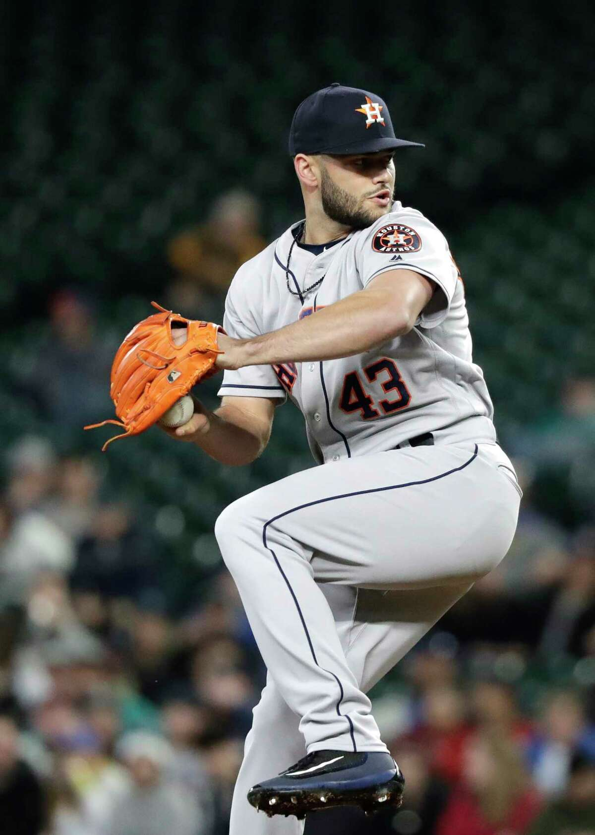 Houston Astros starting pitcher Lance McCullers Jr. throws against the Seattle Mariners in a baseball game Tuesday, April 17, 2018, in Seattle. (AP Photo/Elaine Thompson)