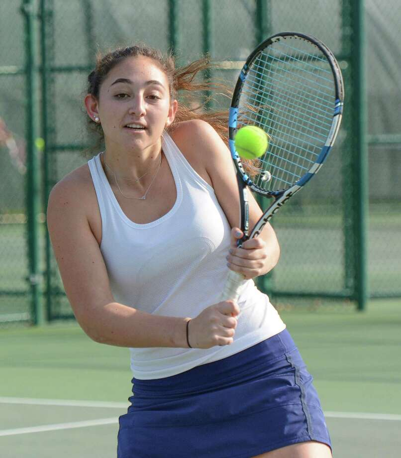 The GFA Girls Tennis Varsity tennis team hosted Millbrook on Friday. Pictured is Devon Wolfe, a resident of Darien. Photo: Contributed Photo / Darien News contributed