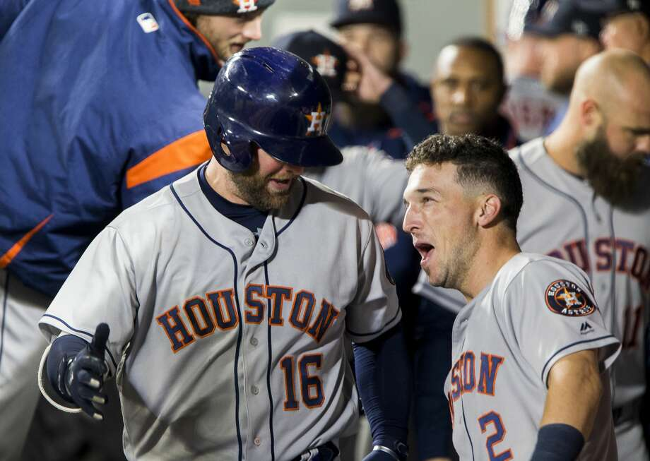 SEATTLE, WA - APRIL 17:  Brian McCann #16 of the Houston Astros celebrates his home run in the sixth inning with Alex Bregman #2 against the Seattle Mariners at Safeco Field on April 17, 2018 in Seattle, Washington. (Photo by Lindsey Wasson/Getty Images) Photo: Lindsey Wasson/Getty Images