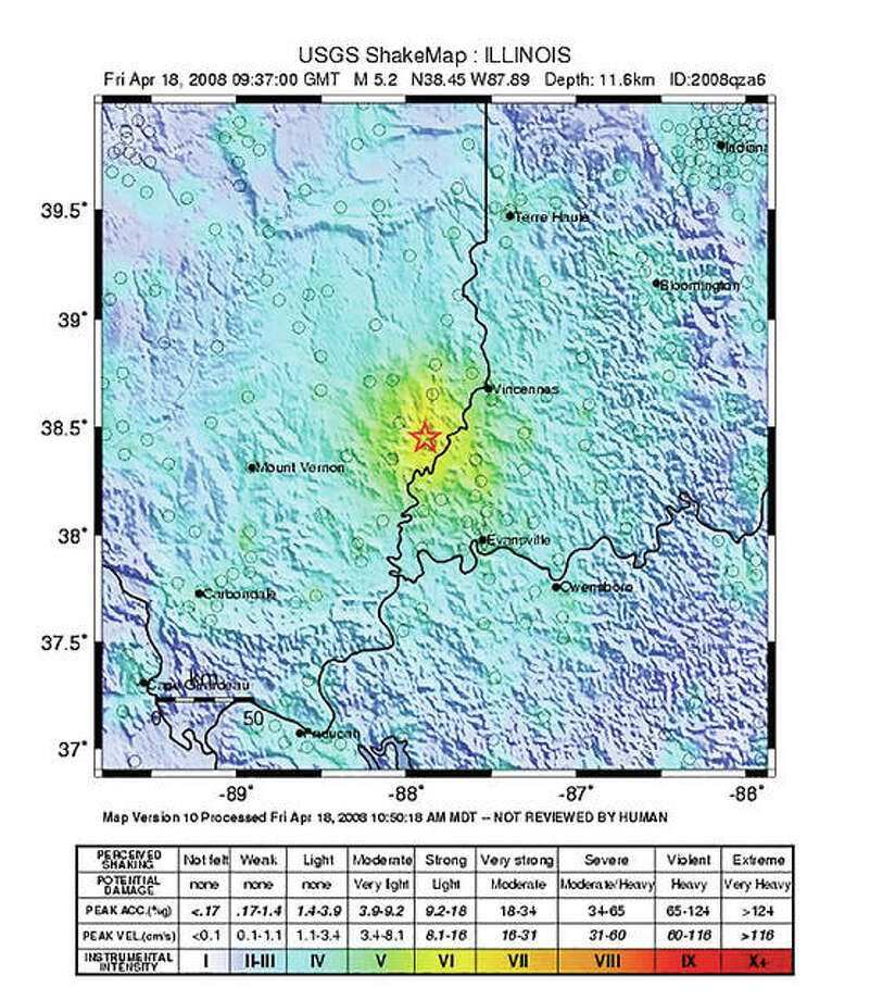"A U.S. Geological Survey ""ShakeMap"" shows the intensity of the last significant earthquake centered in Illinois. Photo:       U.S. Geological Survey"